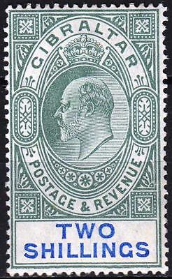 Gibraltar 1904 issue, SG 62, 2/- Green & Blue, Mint Hinged, Cat £110