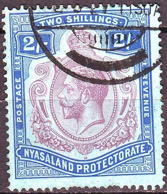 Nyasaland 1921 issue, SG 109g, 2/- Purple/Blue on Grey Blue, used, Cat £26