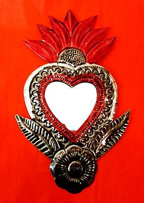 Authentic Mexican Tin Folk Art Flaming Heart & Flower Milagro Mirror Decoration