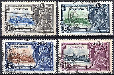 Nyasaland 1935 Jubilee, SG 123 - 126, used, Cat £70