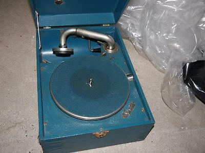 Vintage Blue Cased Working Hmv His Masters Voice Portable Wind Up Gramophone