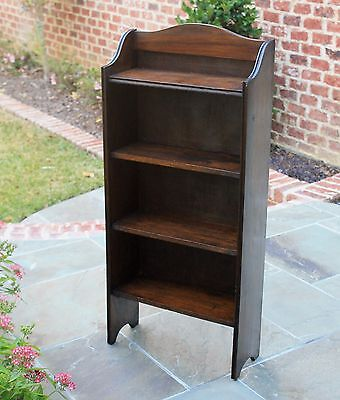 Antique English Oak PETITE 4-Shelf Bookcase Book Rack Display Shelf