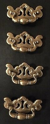 """Lot Of 4 Vintage 4 1/2"""" Ornate CONT. B Brass Chippendale Style Drawer Pulls"""