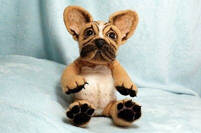 OOAK Bear Needle Felted 'French Bulldog' by Wendy at Tree Wood