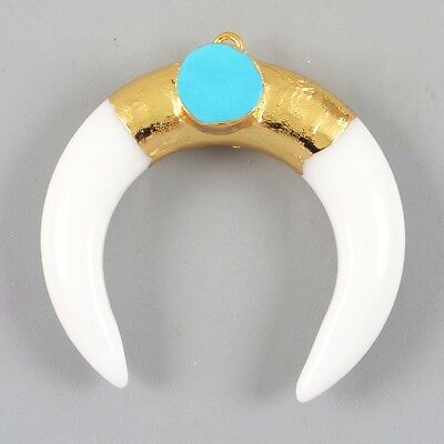 Crescent Double Horn White Agate & Howlite Turquoise Charm Gold Plated B026311