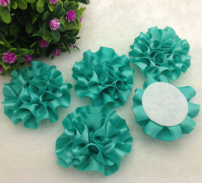 5pcs blue satin ribbon big Peony Flower Appliques/craft/Wedding decoration