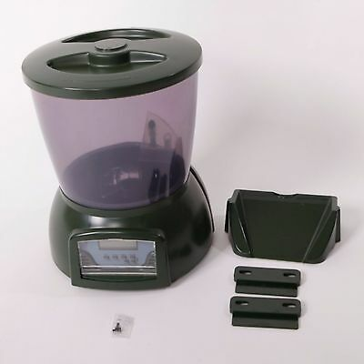 PFF-01 4.25L LCD Display Automatic Fish Feeder with Clock Display Olive Green