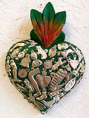 Authentic Mexican Folk Art Wooden Heart Smothered with tiny Milagro Charms