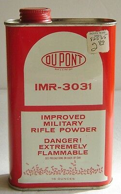 Vintage US DuPont IMR-3031 Improved Military Rifle Powder Empty Tin Can Box-EX!