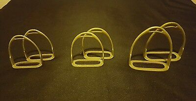 3 Pairs Old Horse Riding Stirrups x2 Nickel Made In England Vintage