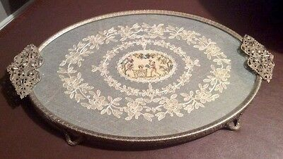 Vintage Silver Metal & Glass Dressing Table Tray With Lace Insert