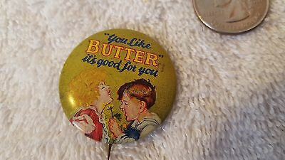 """Geraghty & Co.""""you Like Butter"""" Pin Pinback Button Dairy Advertising"""