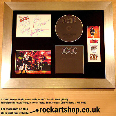 AC/DC Back in Black *FULLY SIGNED ANGUS YOUNG BRIAN+MALCOLM+CLIFF+PHIL Autograph
