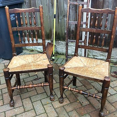 Pair Of Antique Lancashire Dining Chairs Spindle Back Rush Seats