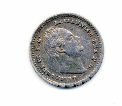 1834 William IV sterling silver threehalfpence 1 1/2d coin : 0.7g