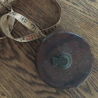 Vintage Chesterman Sheffield England Leather Bound Tape Measure 66 Ft