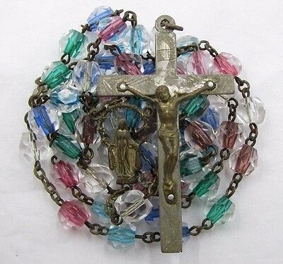 † Scarce Gorgeous Vintage Multi Colored Fading Into Clear Murano Glass Rosary †