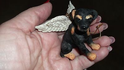 NWT GIFT ITEM Dog Ganz ROTWEILLER In Memory  Guardian Angel Wings ORNAMENT RARE
