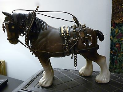 Shire horse ceramic Melrose with harness and tack large
