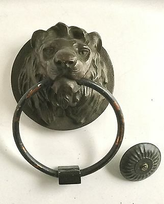 Antique Brass Bronze Lion's Head Door Knocker