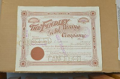 Findley Gold Mining Company Stock Certificate - Transferred to W.S. Stratton!!!!