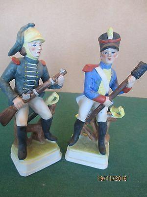 Porcelain Ceramics? '2 Napoleonic French Soldiers  Figures' 81/2 inches high.