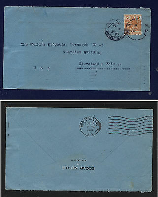 British  Honduras   #77  on cover to  US   1918   KL1220