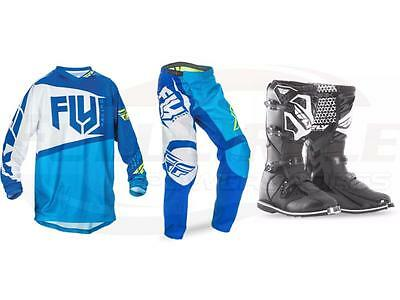 Fly Racing Blue F-16 Jersey Pant Boots Combo Set MX/ATV Motocross Riding Gear