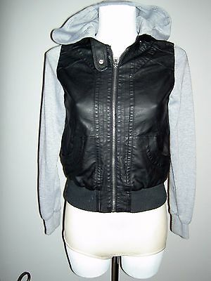 Lovely Girls New Look Faux Leather Hoodie Hooded Jacket Black Size 12 To 13 Yrs