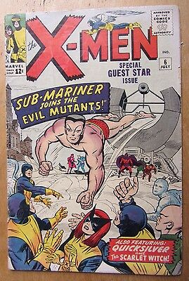 X-Men # 6 July 1964, Sub Mariner, Magneto, Scarlet Witch. Kirby (cents, Vg/fn)