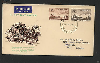 Australia  stagecoach stamps cachet first day cover  1955      KL1124