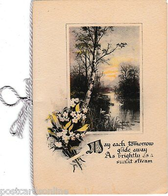 B8827pac Greetings May Each Day Glide Away vintage Greeting Card