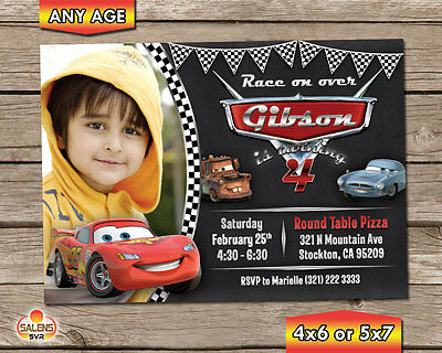 Cars Photo Birthday Party Invitation