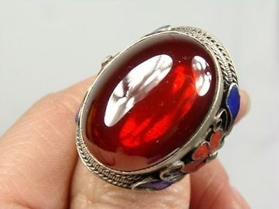 Collectible Chinese Inlay Jade Old Tibet Silver Cloisonne Flower Ring