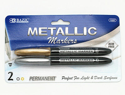 BAZIC Metallic Markers 2markers pack GOLD SILVER special marker