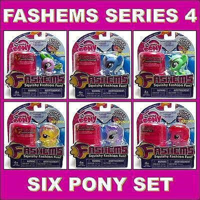 My Little Pony Series #4 Fashems 6 Pony Set Each with Carry Case Squishy Fun New