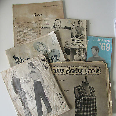 Bulk Lot Old Knitting Books and Paper pattern 1940s-1960s Craft Collage Use