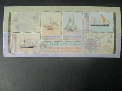 No-38- 1992 - ANNIVERSARY  OF  COLUMBUS   MINI  SHEET   ISSUE   --USED