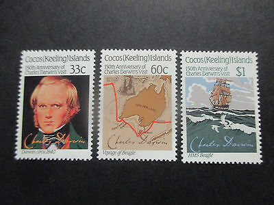 No-2--1986   COCOS   ISLAND   CHARLES  DARWINS  VISIT -3    STAMPS -- MINT