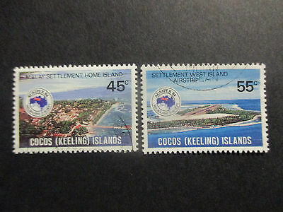 No-2--1984  COCOS   ISLAND- AUSIPEX  84  ISSUES   --2  STAMPS -USED  -A1