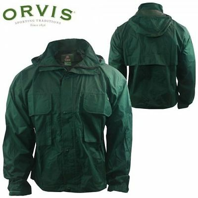 Orvis Men's Rain Jacket Med M Windproof Waterproof  Outdoor Green 21