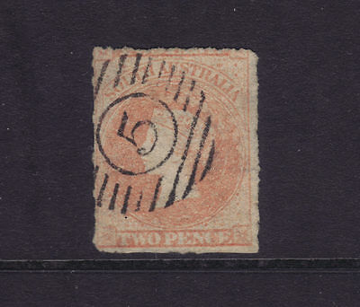 "SA Sg 25; 2d Rouletted Chalon ""5""-in-circle-in-bars,VFU.**Scarce Cancel**"