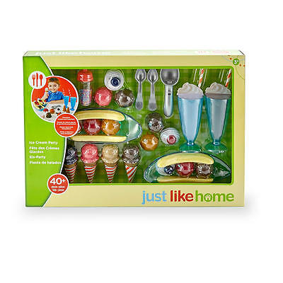 NEW Just Like Home ICE CREAM Party Set Kids 40+ pc Play Food Dishes Kitchen NIB