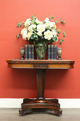 Antique English Rosewood Single Pedestal Fold Over Card Games Hall Table c1860