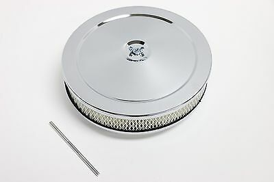 "10"" x 2"" Round Chrome Air Cleaner Chevy SBC 350 BBC 454 Ford Holley Edelbrock"