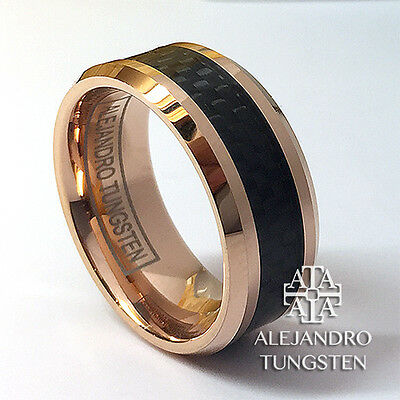 Tungsten Ring Men's 8MM Rose Gold Black Inlay Wedding Band Size 6 to 14