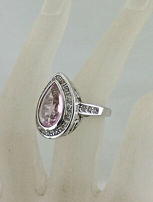 Antique Style Silver Plated Ring Pink Tear Drop Rhinestone Size 6