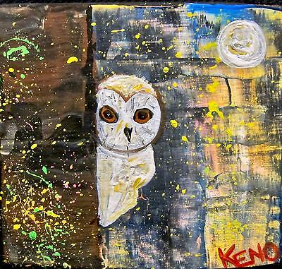 BARN OWL~Bird Mini wood painting KENO FOLK Artist outsider~COASTWALKER~USA