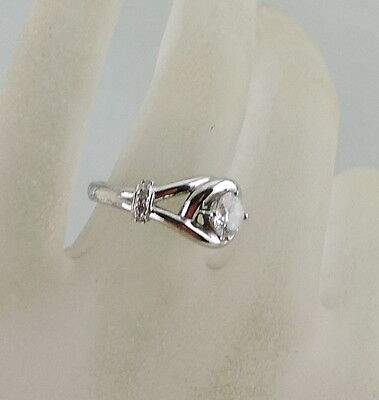 Solitaire W/ Accents Style Silver Plated Ring White Rhinestone Size 6 Elegant