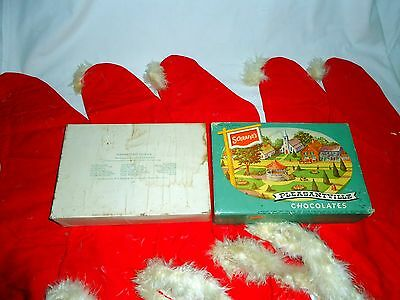 5 - Vintage Christmas stockings h. made down feathers trim inside 30's Schrafft